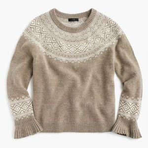 J. Crew Fair Isle ruffle-sleeve sweater • tan